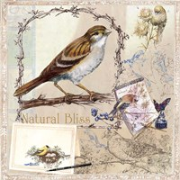 Natural Bliss Birds -Tan Fine Art Print