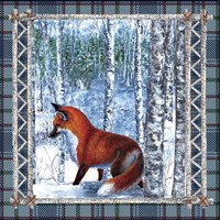Birch Frame Plaid Fox Fine Art Print