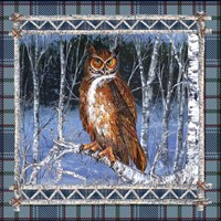 Birch Frame Plaid-Owl Fine Art Print