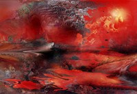 Volcano Planet Red Fine Art Print