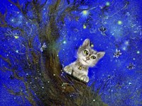 Night Cat Blue Fine Art Print