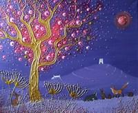 Blood Moon Over The Tor Fine Art Print
