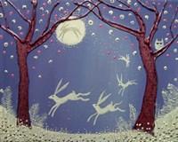 Dance Of The Moon Hares Fine Art Print