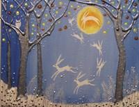 Night Of The Moon Hares Fine Art Print