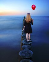 A Girl And Red Balloon Fine Art Print