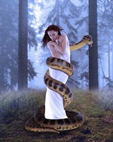 Snake And Lady In White Fine Art Print