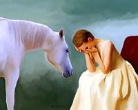 Sad Girl And Horse Fine Art Print