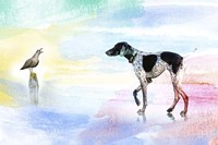 Dog and bird Fine Art Print