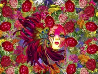 Mask And Red Flowers Fine Art Print
