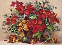 Festive Poinsettia Basket Fine Art Print