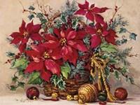 Holiday Poinsettia Basket Fine Art Print
