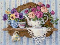 Pansies and Lace Fine Art Print