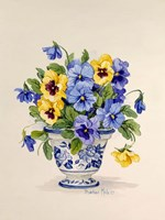 Blue and White Porcelain Pansies Fine Art Print