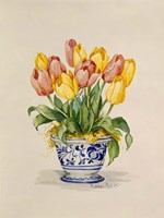 Blue and White Porcelain Tulips Fine Art Print