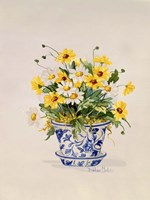 Blue and White Porcelain Daisies Fine Art Print