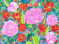 Peories And Tulips Fine Art Print