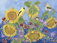 Goldfinches With Sunflowers Fine Art Print