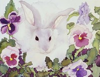 Bunny with Pansies Fine Art Print
