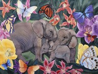 Elephants and Butterflies Fine Art Print