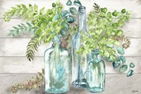 Vintage Bottles and Ferns Landscape Fine Art Print
