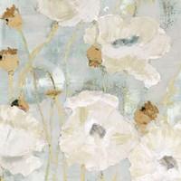 Poppies in the Wind Cream square Fine Art Print