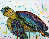 Sea Turtle w/paint splotches Fine Art Print