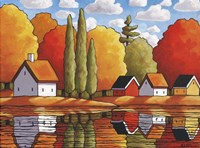 Fall Water Cabin Reflections Fine Art Print