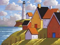 Lighthouse Cottage Hillside View Fine Art Print