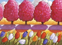 Pink Trees Path & Tulips Fine Art Print