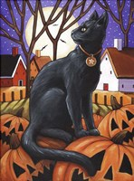 Moon Cat & Pumpkins Fine Art Print