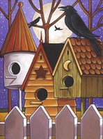 Moon Crows Houses Fine Art Print