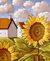 Sunflower & Cottages Scenic View Fine Art Print