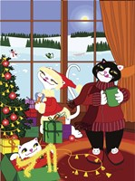 Christmas Cats Theme Christmas Decorations V2 Fine Art Print