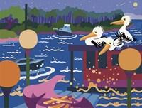 Pelicans By Harbour Light Fine Art Print