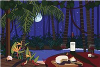Red Wine And Cheese Under The Moonlight Fine Art Print