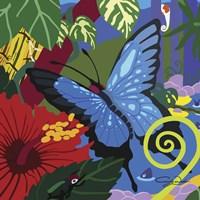 Tropical Blue Butterfly V3 Fine Art Print