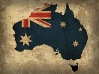 Australia Country Flag Map Fine Art Print