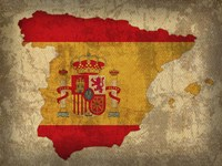 Spain Country Flag Map Fine Art Print