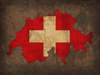 Switzerland Country Flag Map Fine Art Print