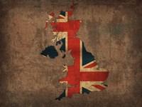 United Kingdom Country Flag Map Fine Art Print
