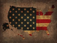 USA Country Flag Map Fine Art Print