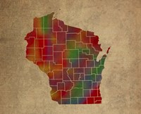 WI Colorful Counties Fine Art Print