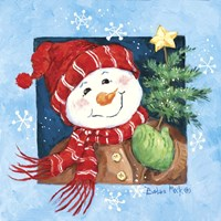 Red Hat Snowman Fine Art Print