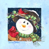 Holly Hat Snowman Fine Art Print