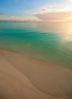 Elevated View of Beach at Sunset, Great Exuma Island, Bahamas Fine Art Print