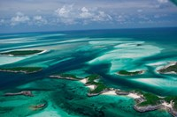 Aerial View of Island in Caribbean Sea, Great Exuma Island, Bahamas Fine Art Print