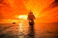 Sailboat and Tall Ship the Pacific Ocean, Dana Point Harbor, California Fine Art Print