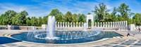 View of Fountain at National World War II Memorial, Washington DC Fine Art Print