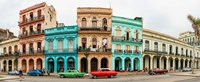 Cars in Front of Colorful Houses, Havana, Cuba Fine Art Print