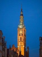 Low Angle View of Clock Tower, Gdansk, Poland Fine Art Print